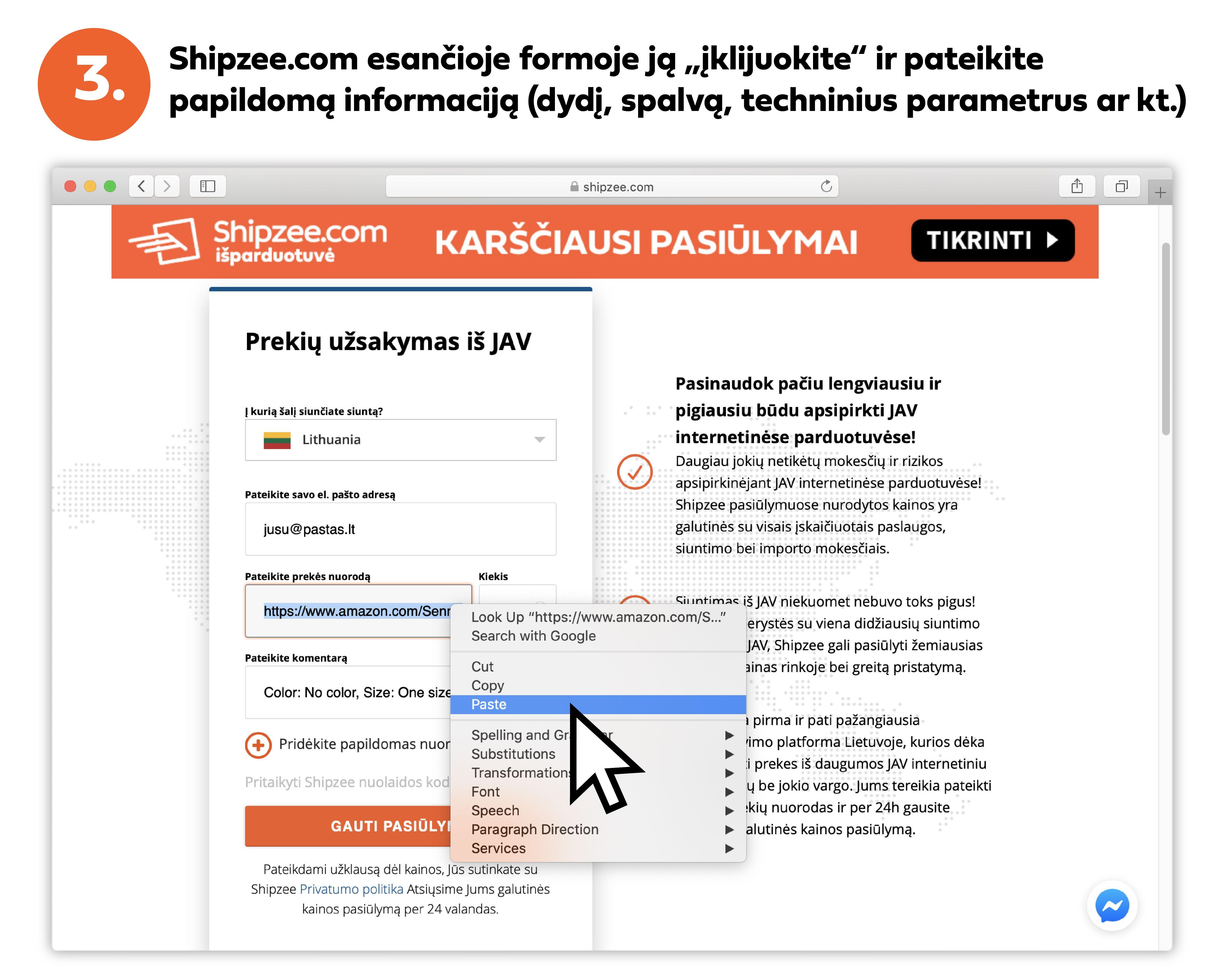 kaip parsiusti prekes is JAV su shipzee