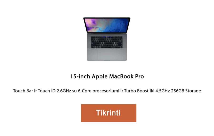 apple kompiuteris 15‑inch Apple MacBook Pro, 256GB