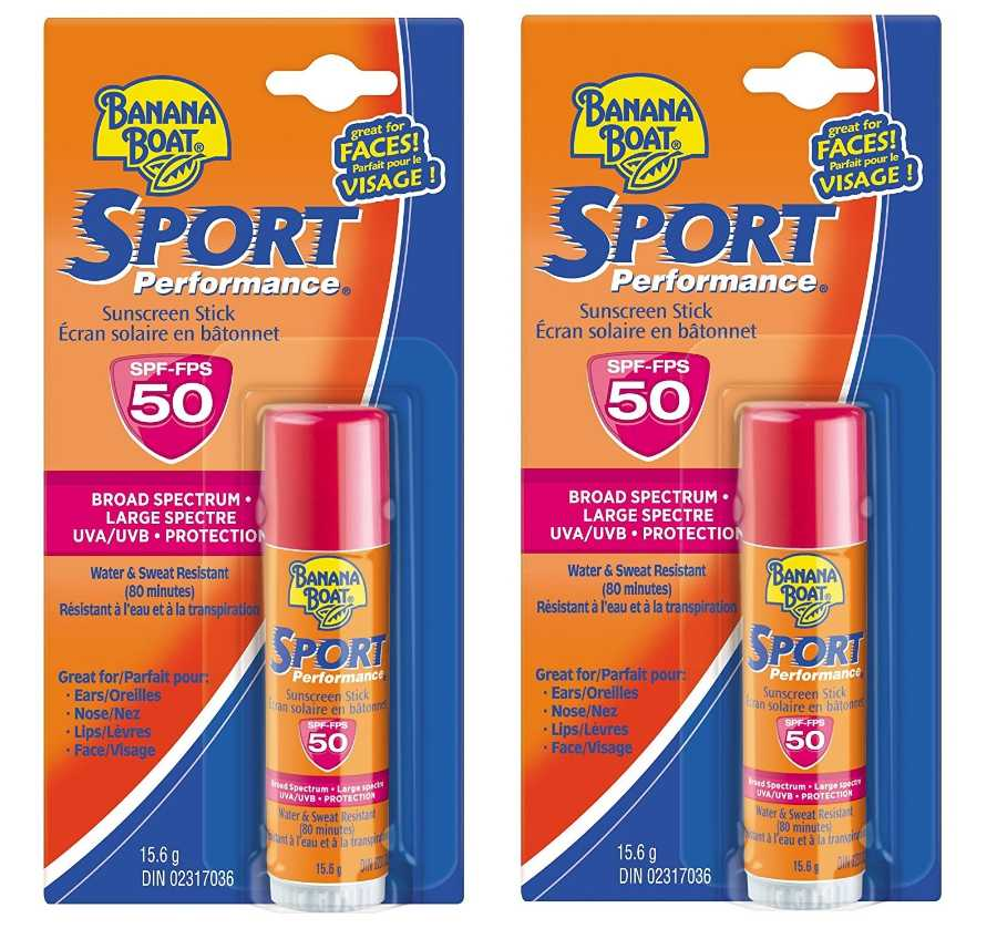 pieštukas nuo saulės Banana Boat Sport Performance UVA/UVB Protection Sunscreen Stick for Faces, Broad Spectrum SPF 50