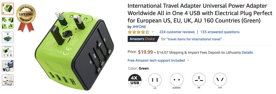 International Travel Adapter Universal Power Adapter Worldwide